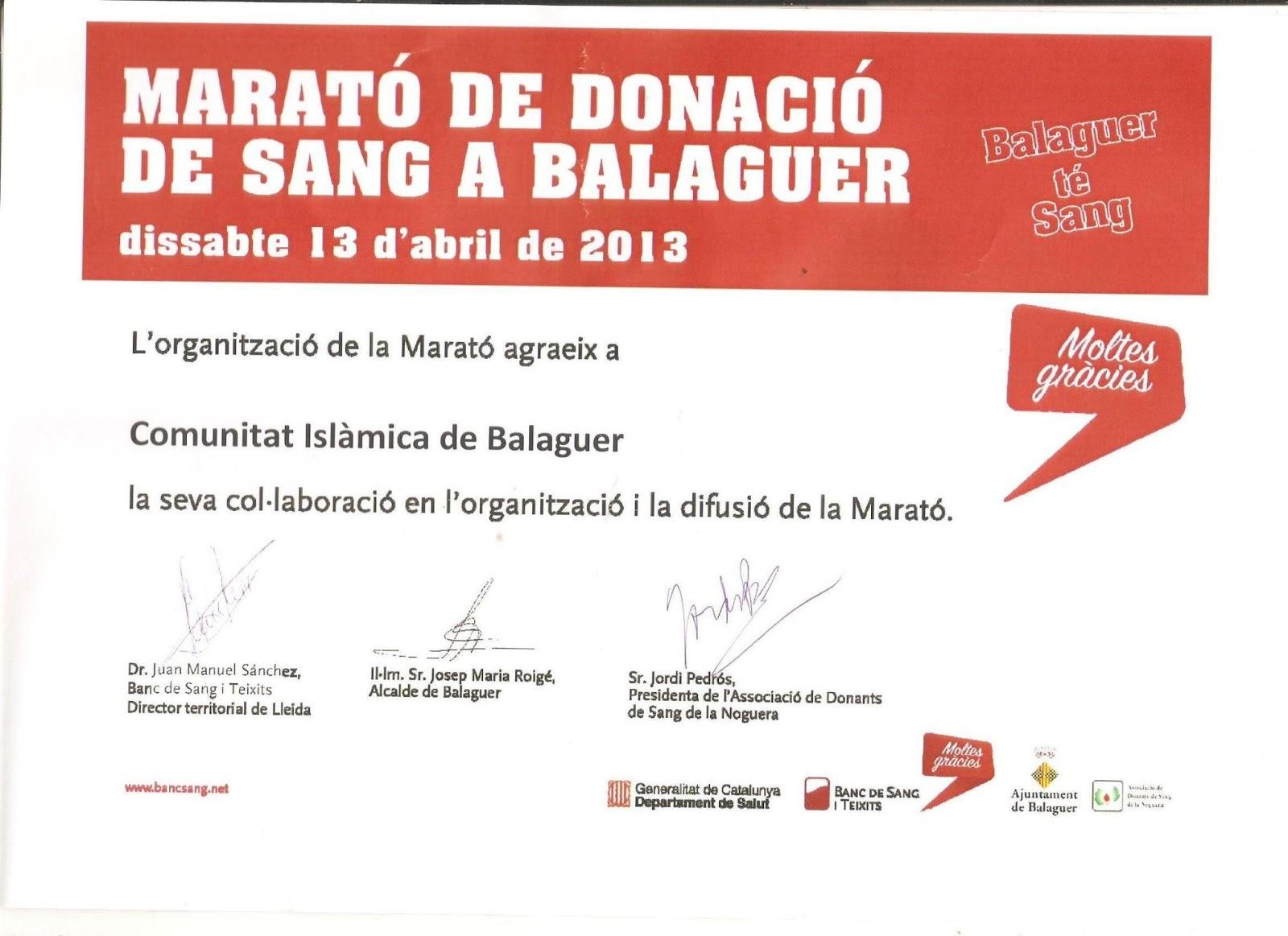 La Comunidad Islámica de Balaguer recibe un certificado de agradecimiento por su participación en el Maraton de Donación de Sangre