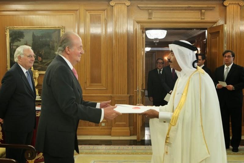 Su Majestad el Rey recibe las Cartas Credenciales del embajador del Estado de Qatar, Abdulrazzak Abduljalil A. N. Al-Abdulghani, Palacio de La Zarzuela. Madrid, 24.09.2013