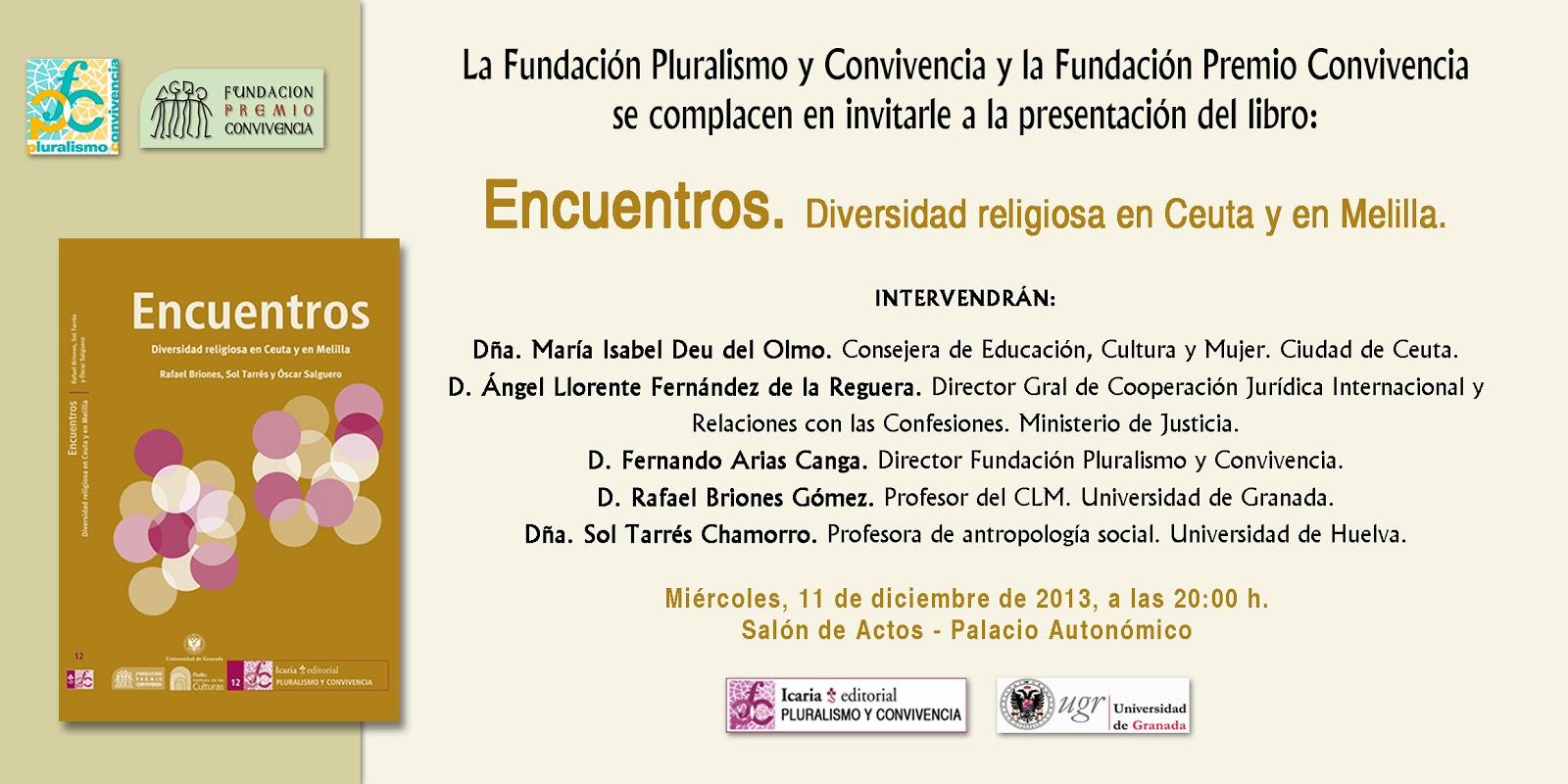 """Presentación del libro: """"Encuentros. Diversidad religiosa en Ceuta y Melilla""""."""