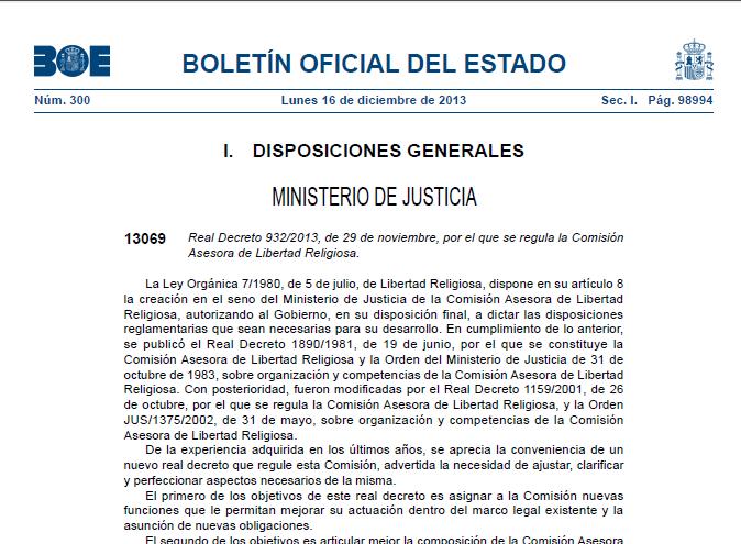 Publicado en el BOE, el Real Decreto 932/2013, de la Comisión Asesora de Libertad Religiosa
