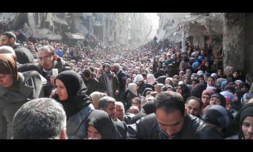 حملة لصالح اللاجئين الفلسطينين في مخيم اليرموك بسوريا