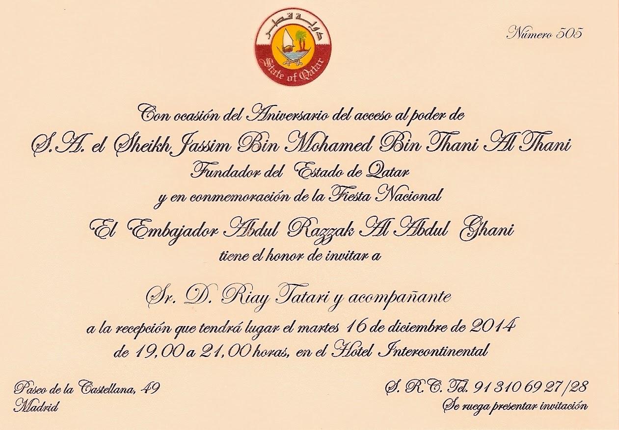 Tatary invitado a la recepción con motivo del Aniversario del Día Nacional del Estado de Qatar