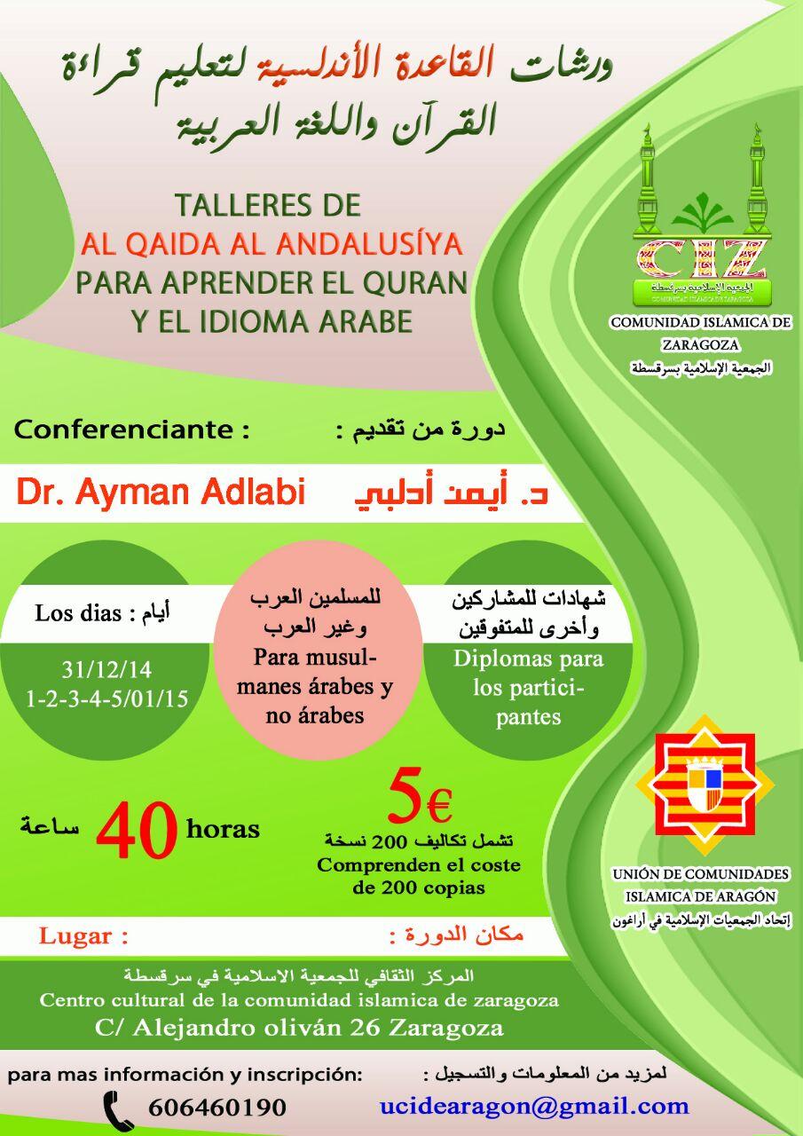 Zaragoza acogera a los talleres formativo de profesores de árabe y Corán según el método Andalusí