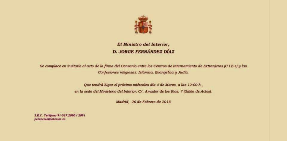 """Invitación del Sr. Ministro del Interior para la """"Firma del Convenio CIEs y Confesiones Religiosas"""""""