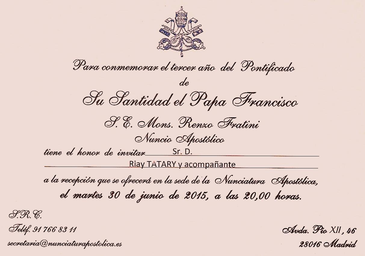 Tatary invitado a la conmemoración del tercer año del Pontificado del Papa Francisco